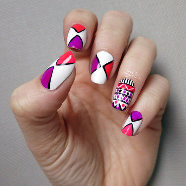 Neon triangles with a touch of tribal nail art by simplynailogical