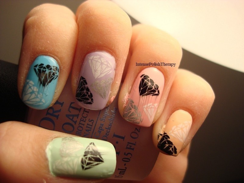 Diamond Stamped manicure nail art by IntensePolishTherapy Anita