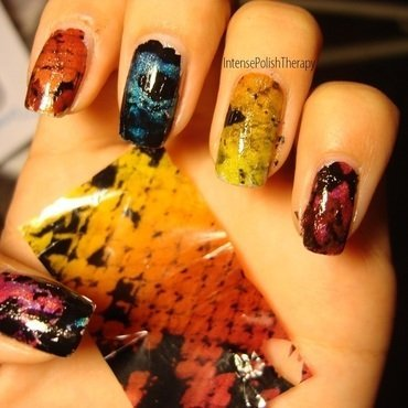 Multicoloured Snakeskin Foil Manicure nail art by IntensePolishTherapy Anita
