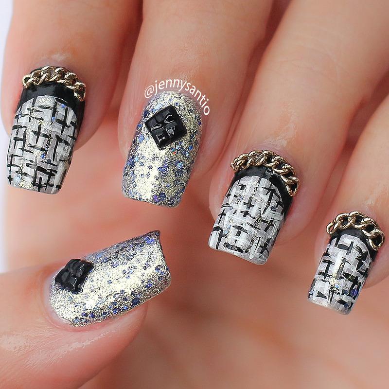 tweed and chain nail art by Jenny sanyoto