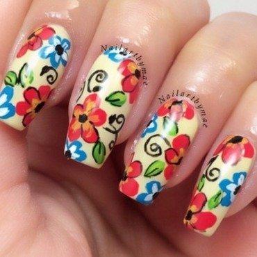 Floral mani nail art by Mae Lara