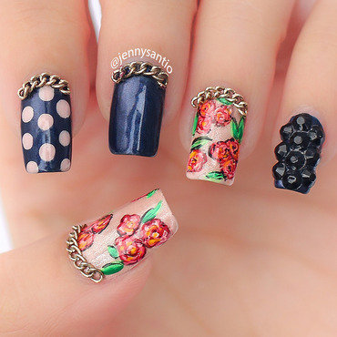 rose and chain nail art by Jenny sanyoto