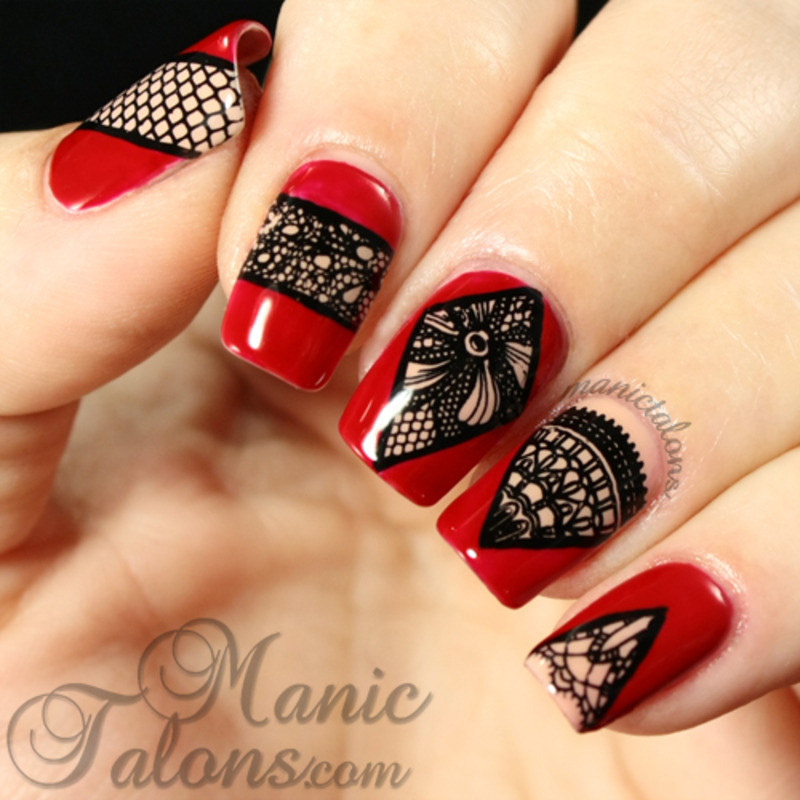 Peek-a-boo Lace nail art by ManicTalons