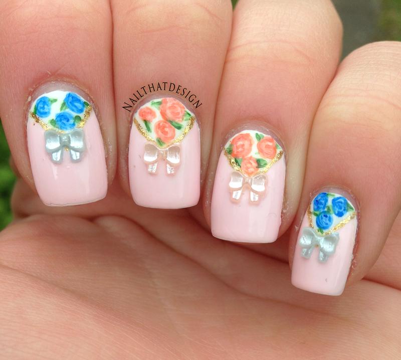 Flowers & Bows nail art by NailThatDesign