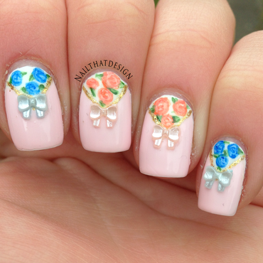 Flowers & Bows nail art by NailThatDesign