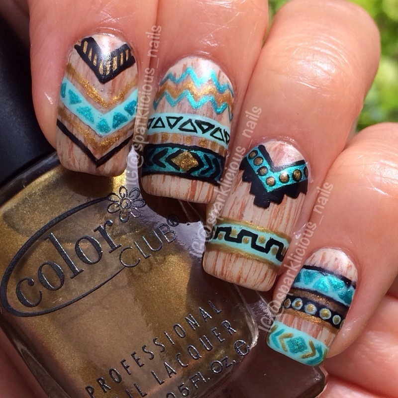 Wooden Aztec/Tribal Design nail art by Amanda
