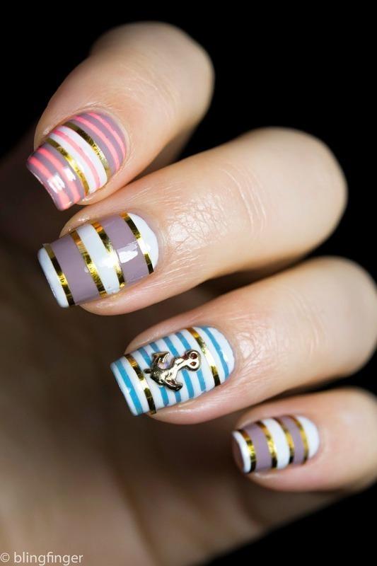 Nautical Stripes nail art by  Petra  - Blingfinger
