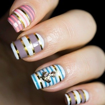 Nautical stripes  nail art thumb370f