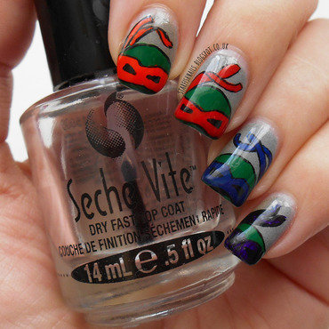 Teenage Mutant Ninja Turtles nail art by Lisa Yabsley