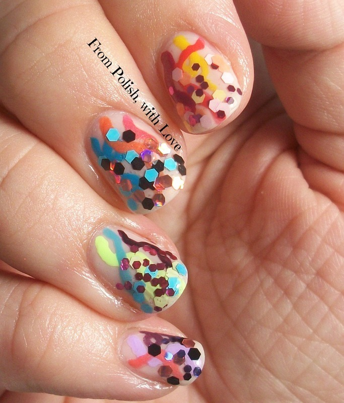 Streamers and Confetti inspired by Chalkboard Nails nail art by Dani ...