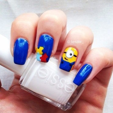 Minion for blue awareness day nail art by tesaw