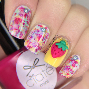 Raspberry Fever nail art by Charlie Bourdeau