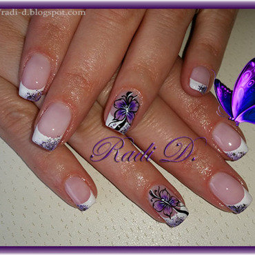 French and Purple Butterfly nail art by Radi Dimitrova