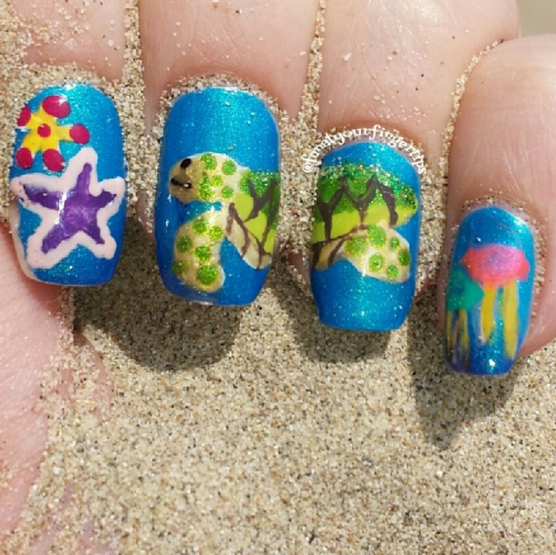 Turtle Day Earth Day nail art by funatyourfingertips