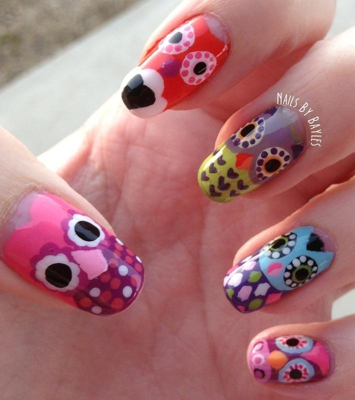Owl Nail Art nail art by Baylie