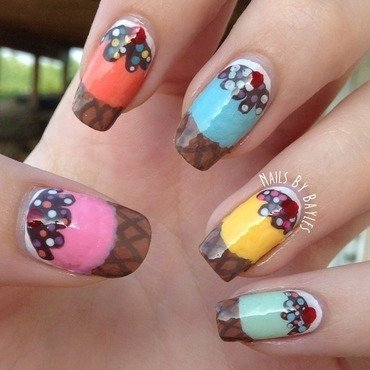 Ice Cream Nail Art nail art by Baylie