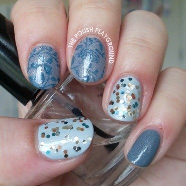 Grey and blue skittle nail art thumb370f