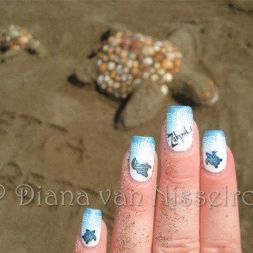 Greece Zakynthos (turtle island) 1 nail art by Diana van Nisselroy
