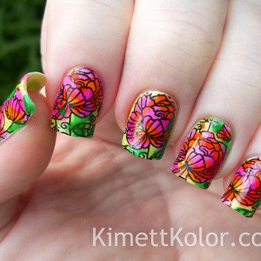 LeadLight Multicolor Stamping Floral Pattern nail art by Kimett Kolor