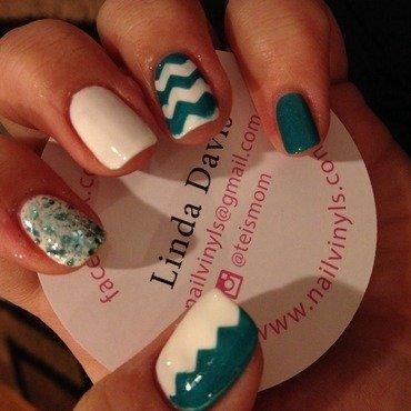 Teal and White Chevron nail art by Amanda