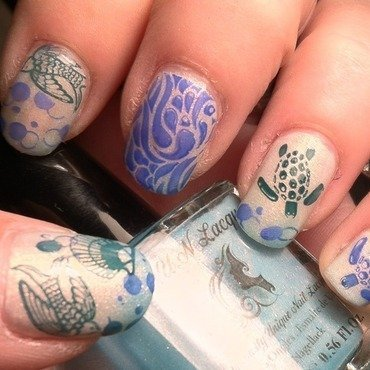 Turtle Time to sea  nail art by April Dolan