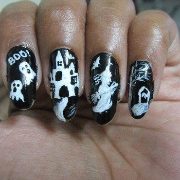 Halloween nail art  nail art by Radhika