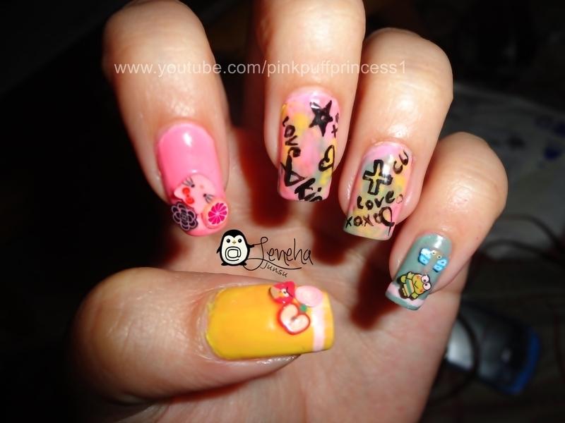 Cute Doodle Nail Art Tutorial nail art by Leneha Junsu