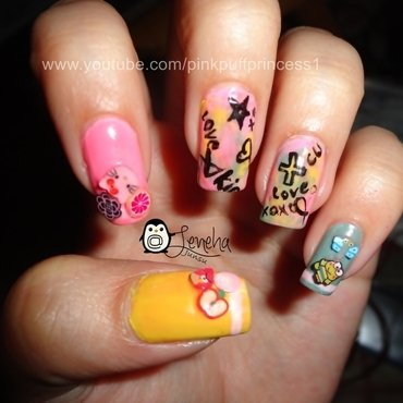 Cute Doodle Nail Art Tutorial nail art by Leneha Junsu