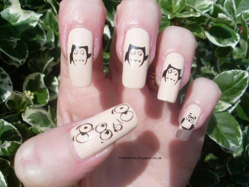 Faces and cute owl nail art by Tracey - Bite no more