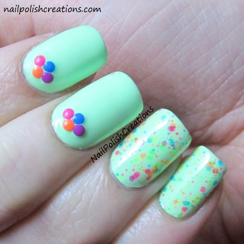 Neon Studs and Glitter nail art by Lisa