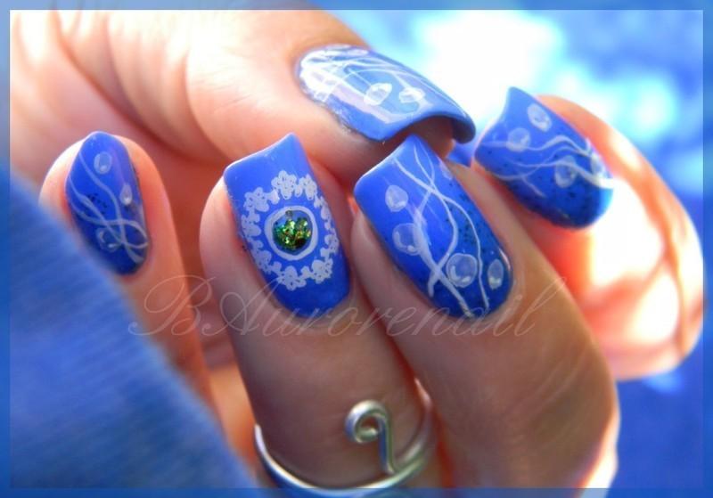 Bulles Bleues nail art by BAurorenail