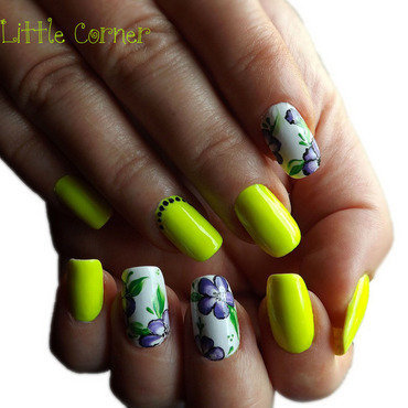 neon & purple flowers nail art by Cris'