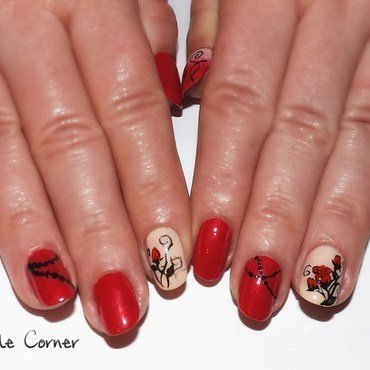 Red ROSES nail art by Cris'