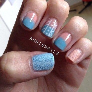Pastel aztec nail art by Annienailz