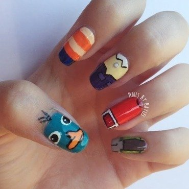 Phineas and Ferb Nail Art nail art by Baylie