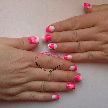 Pink Gradient & hearts nail art by Cris'