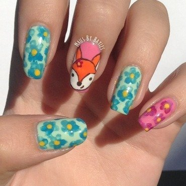 Fox Nail art nail art by Baylie