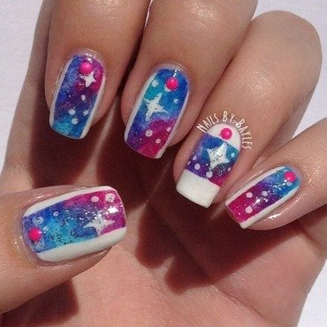 Galaxy Nail Art nail art by Baylie