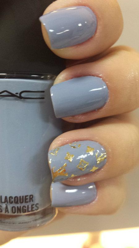 GoldenBlue LV nail art by Charmaine Alves