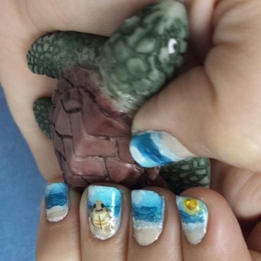 Turtle Beach Day nail art by Christa Harris