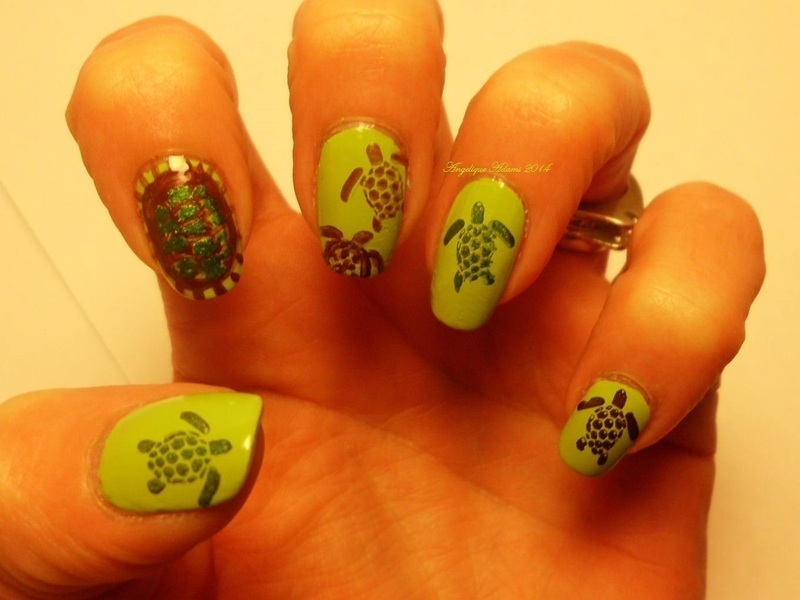 Turtles nail art by Angelique Adams