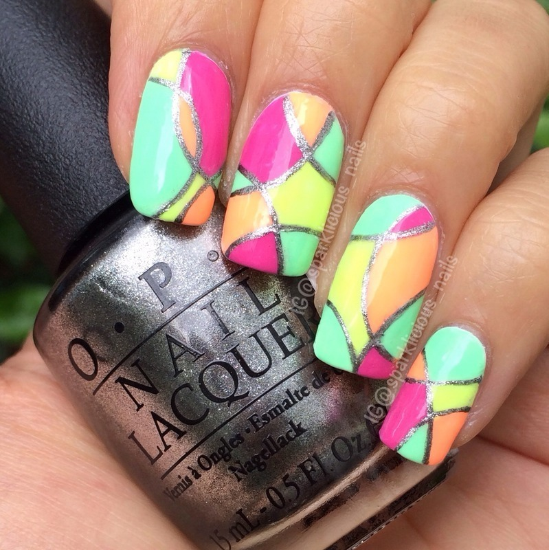 Neon Rounded Color Block nail art by Amanda \