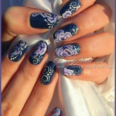Nail art fleurs au one stroke nail art by Cherry Nail art