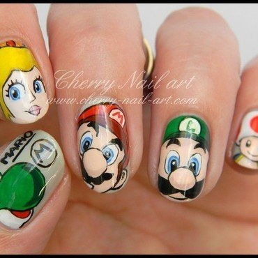 Nail art mario luigi peach toad et yoshi 2 thumb370f
