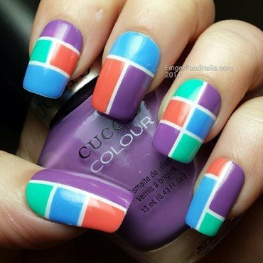 Colour block skittles nail art by Sam