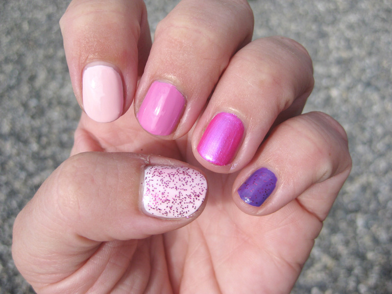 From white to pink to purple nail art by Vicky