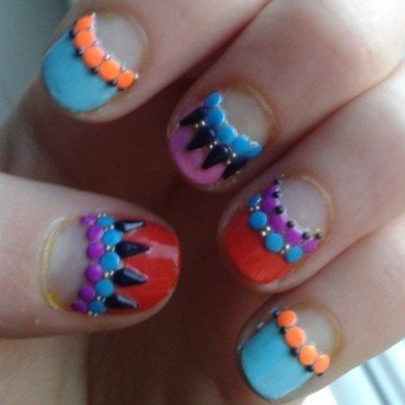 colourful studded nail art by Loes