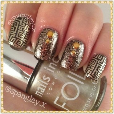 """Gold, Gold, Always Believe In Your Soul!"" nail art by Nicole Louise"
