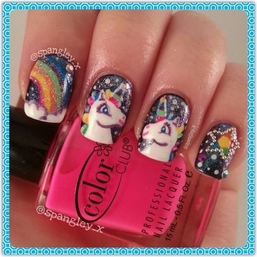 I LOVE UNICORNS! nail art by Nicole Louise