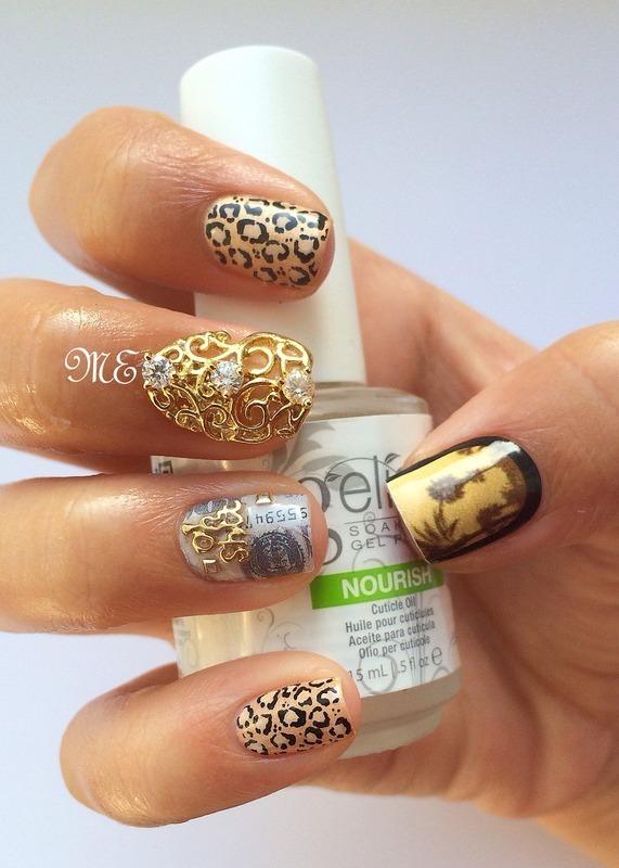 Golden Animal Glamour nail art by Miriam